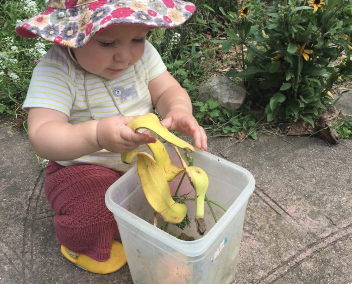 Banana peel and a child