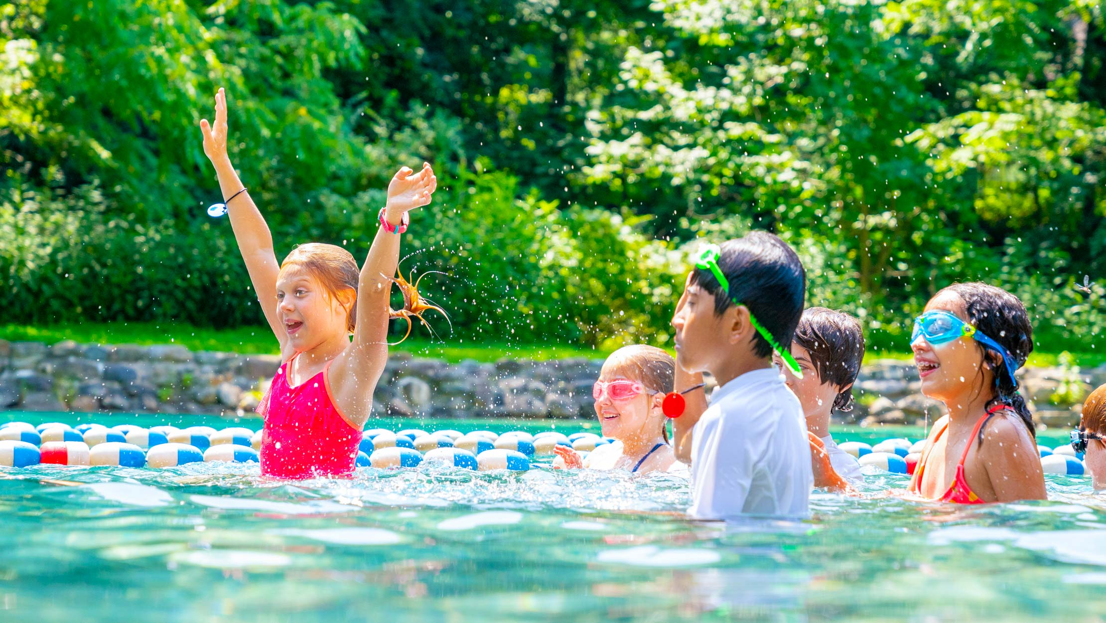 Campers swimming