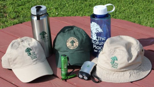 Nature Place Day Camp hats and water bottles