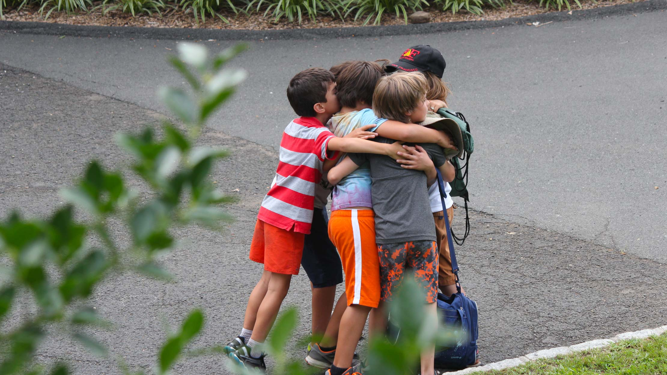 Campers hugging each other