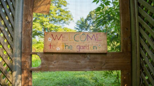 "Hand painted sign saying ""Welcome to the garden"""